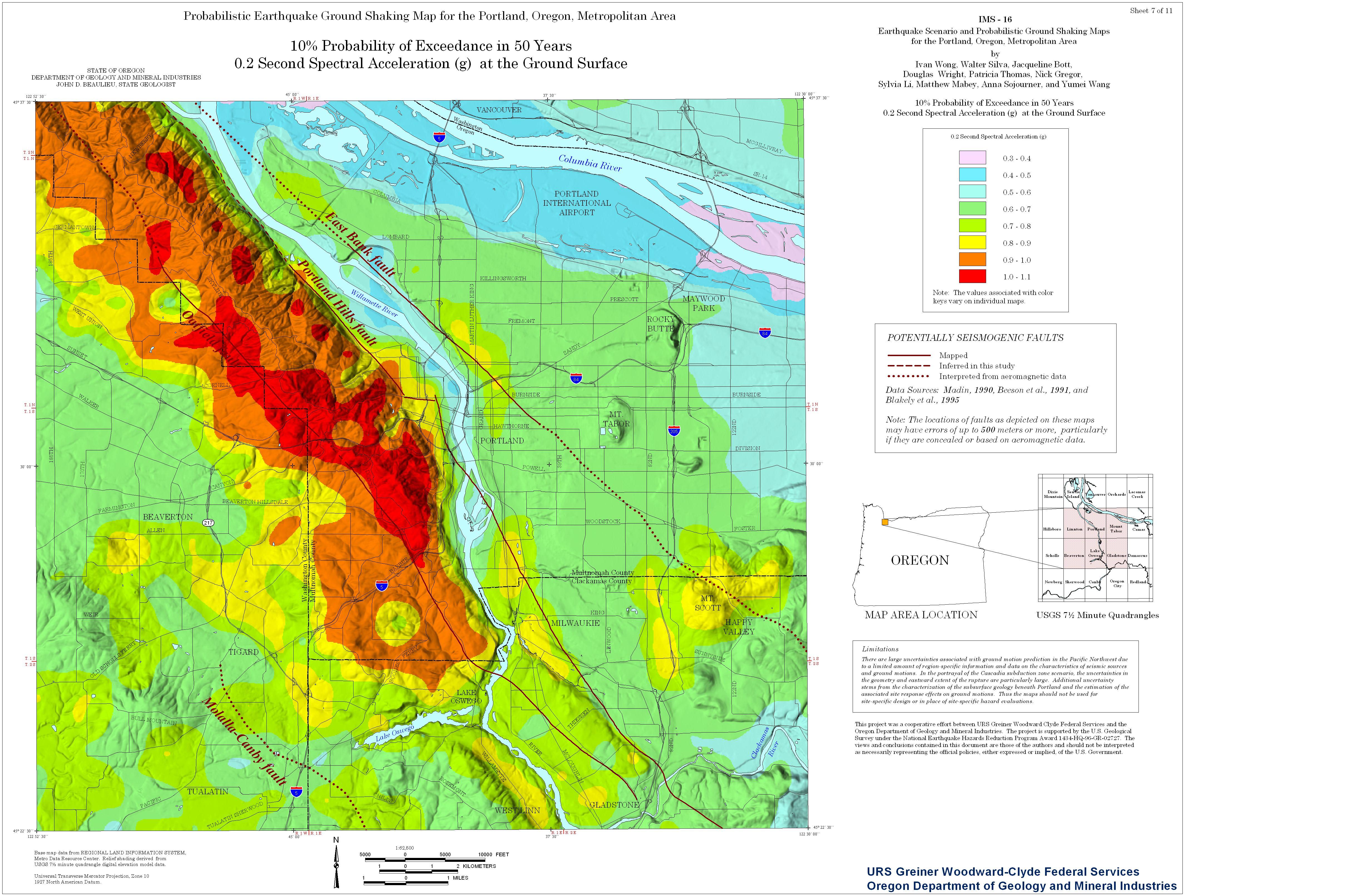 Earthquake Risk Map Oregon